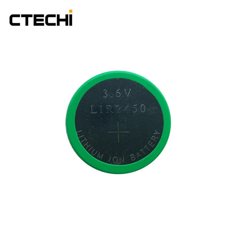 Mini rechargeable coin battery LIR2450 3.6V