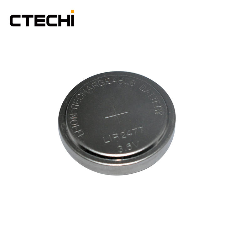 high capacity rechargeable lithium button battery LIR2477