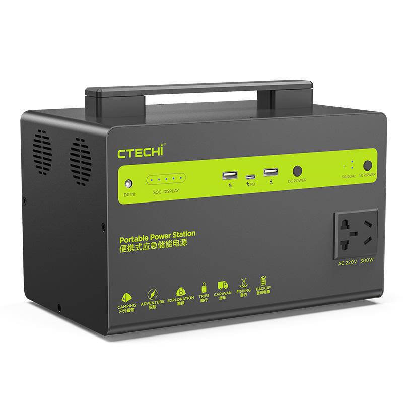 CTECHI 300W Portable Solar Power Storage Station DC 12V AC 110V 220V Output