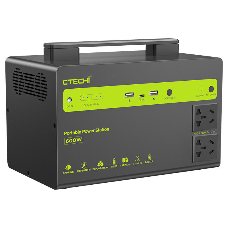 CTECHI Portable Power Station 600W High Capacity Solar Rechargeable Laptop AC Power Bank Portable Powered Generator