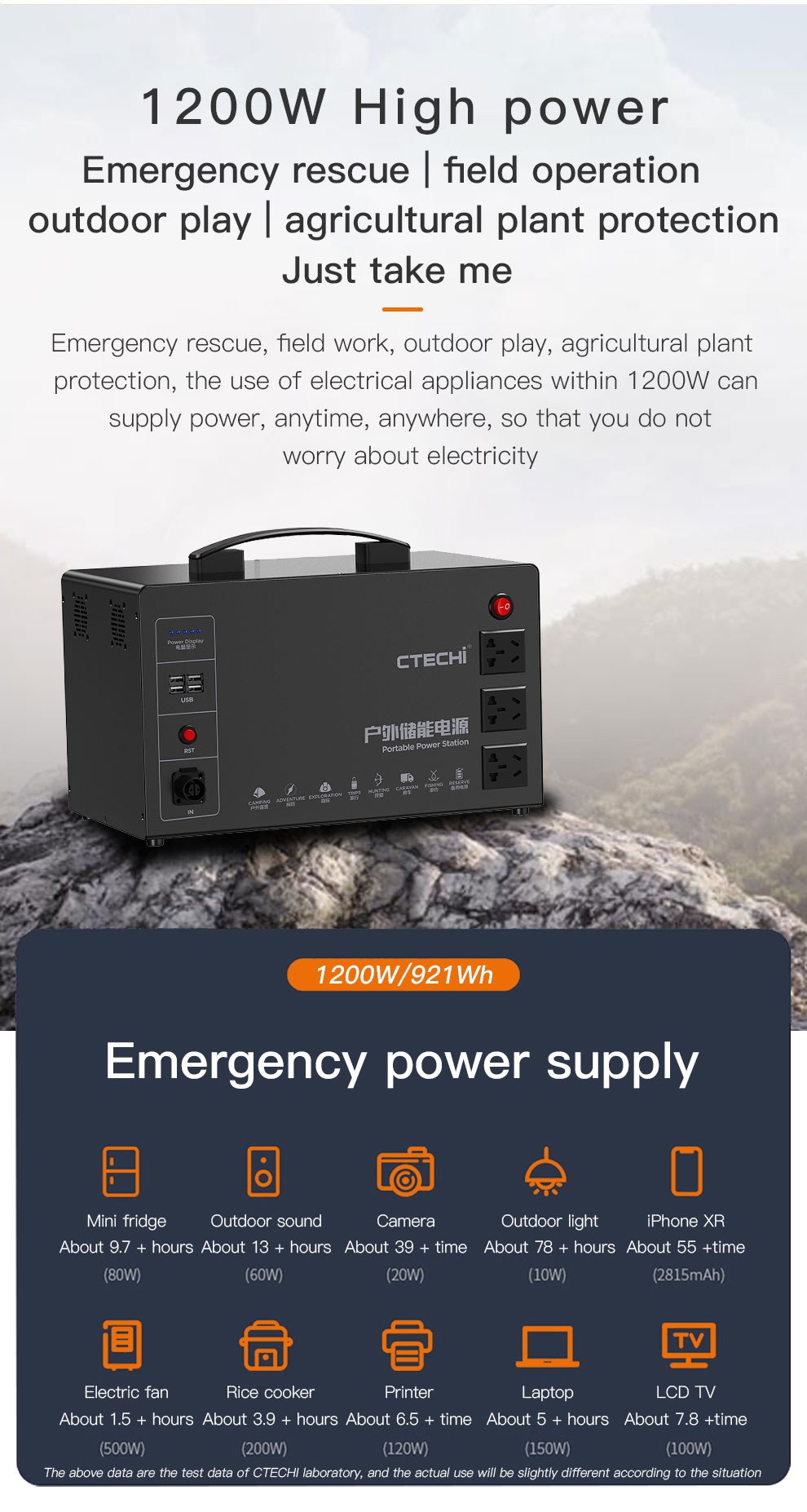 CTECHi professional portable solar power station personalized for outdoor-12