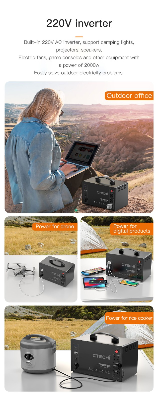 CTECHi quality lithium portable power station factory for outdoor-11