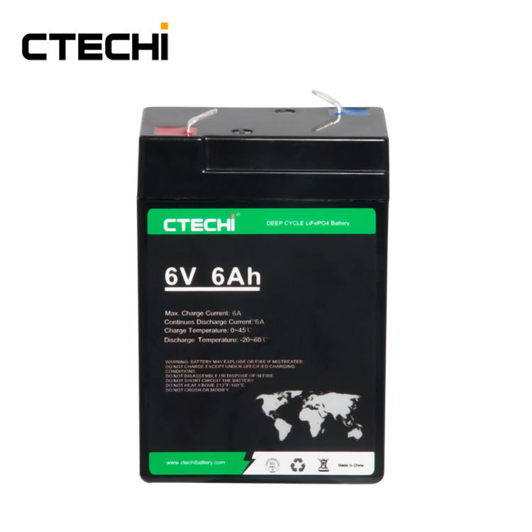 CTECHI 6V6Ah LiFePO4 Battery Pack Replace Lead Acid Batteries for RV Solar System Yacht Golf Carts Storage