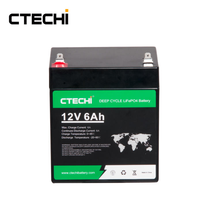 CTECHI 12V 6Ah Energy Solar Lithium Batteries Storage BMS Control Rechargeable Deep Cycle 12V LiFePO4 Battery