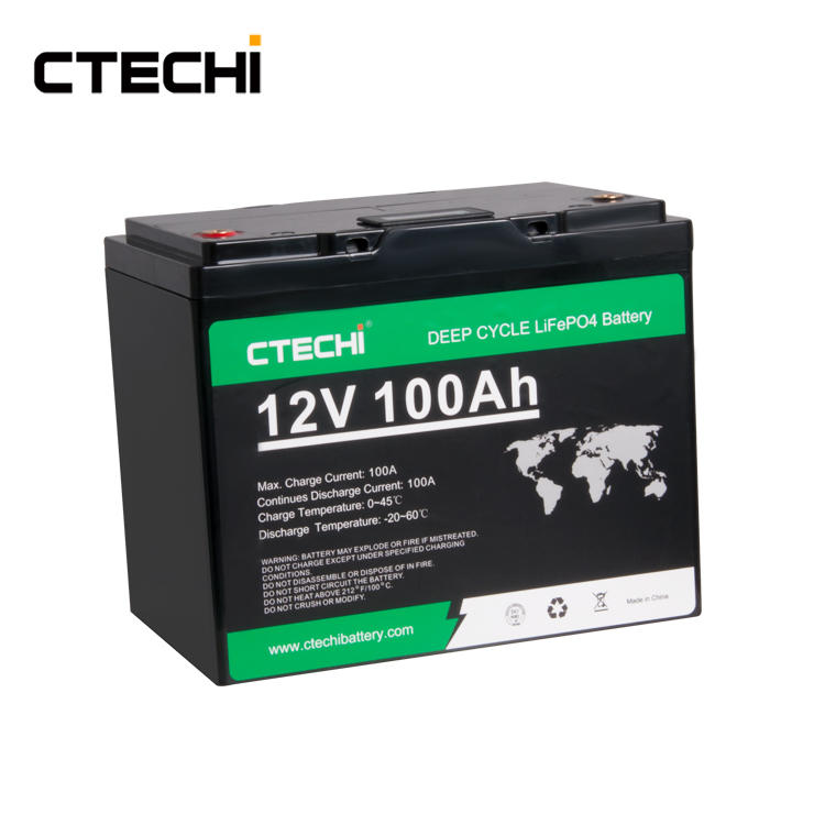 CTECHI 12V 100ah Deep Cycle Lithium Battery Long Life Lifepo4 Storage Battery Pack for Golf Cart Boat Marine Robot
