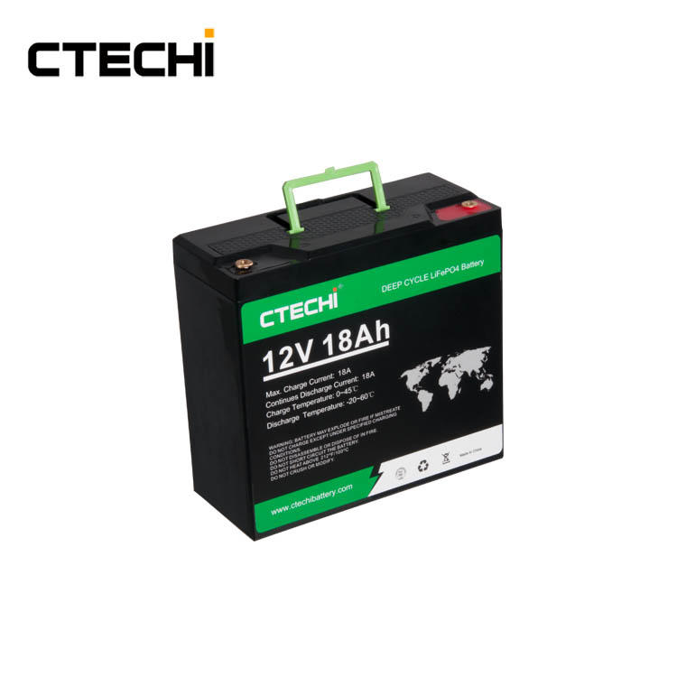 CTECHI Battery LiFePO4 Rechargeable Batteries Pack 12V18Ah Replace Lead Acid