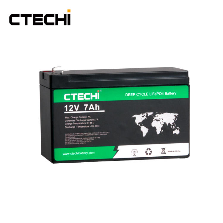 CTECHI 12V7Ah Deep Cycle LiFePO4 Battery Lithium Rechargeable Storage Batteries for Solar Power Energy System Mini Backup UPS