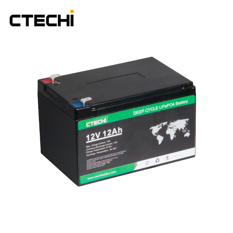 CTECHI LiFePO4 Battery Pack 12V 12Ah UPS Rechargeable Solar Lithium ion Phosphate Pack Deep Cycle 12V Batteries for Emergency Security