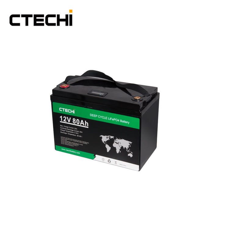 CTECHI Battery Rechargeable 12V 80Ah Lifepo4 Lithium Battery Packs for Camping Car Marine Truck Forklift Solar