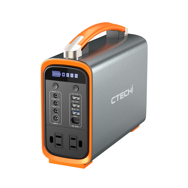 CTECHI 200W TypeC QC3.0 Fast Charging Portable Power Station Emergency Power Supply Solar Generator for Camping Outdoor